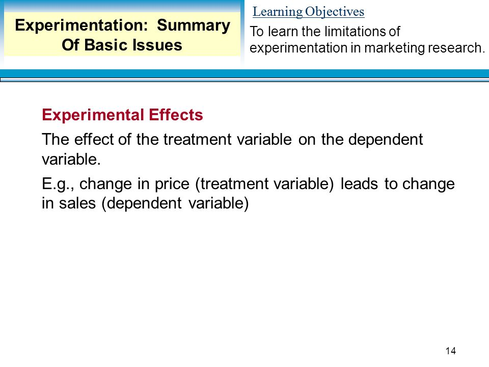 Learning Objectives 14 Experimental Effects The effect of the treatment variable on the dependent variable.