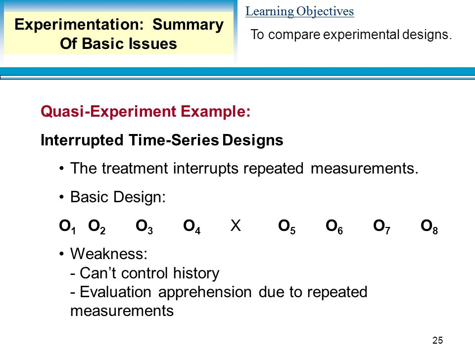 Learning Objectives 25 Quasi-Experiment Example: Interrupted Time-Series Designs The treatment interrupts repeated measurements.