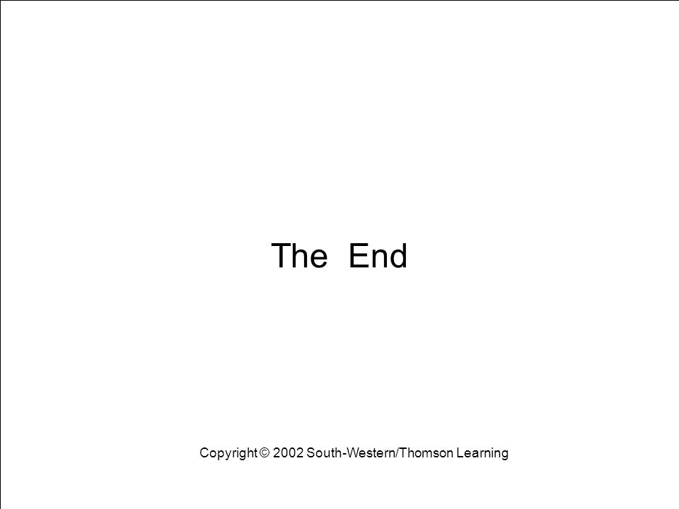 Learning Objectives 33 The End Copyright © 2002 South-Western/Thomson Learning
