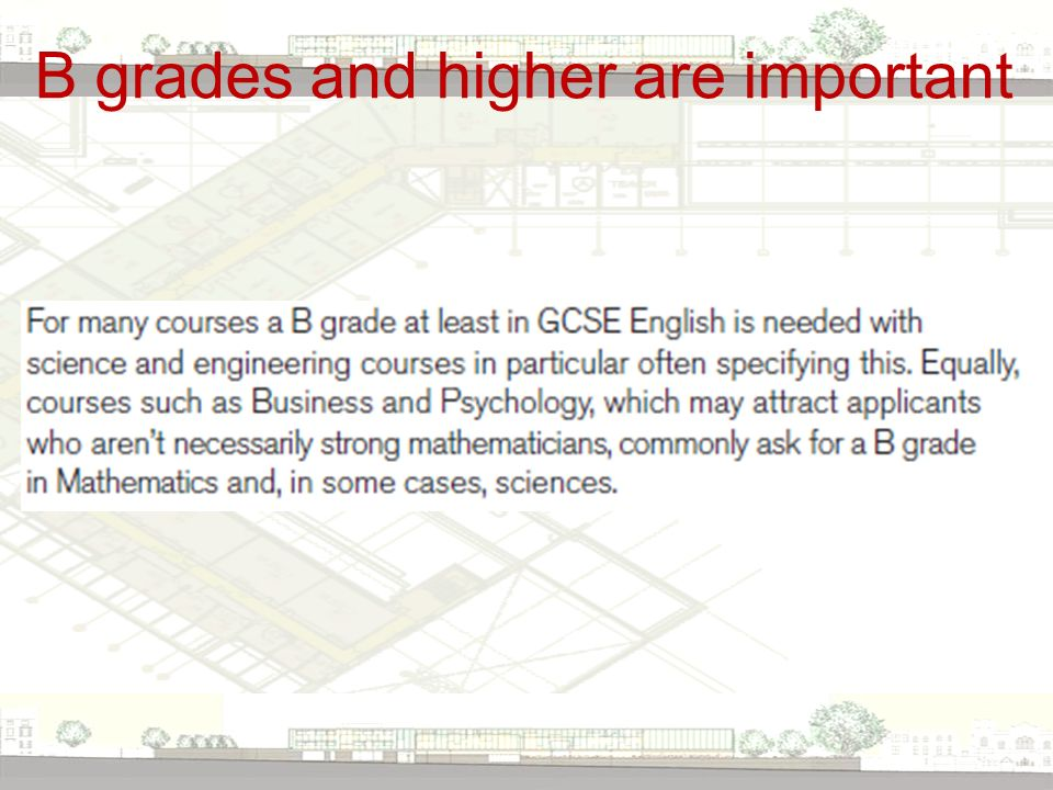 B grades and higher are important