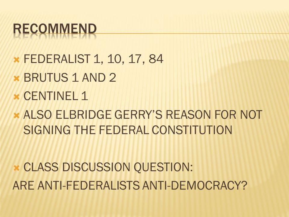 anti federalist centinel 1 summary