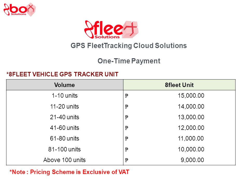 GPS Fleet Tracking Cloud Solutions One-Time Payment *8FLEET VEHICLE GPS TRACKER UNIT Volume8fleet Unit 1-10 units 15, units 14, units 13, units 12, units 11, units 10, Above 100 units 9, *Note : Pricing Scheme is Exclusive of VAT