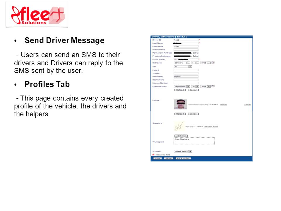 Send Driver Message - Users can send an SMS to their drivers and Drivers can reply to the SMS sent by the user.