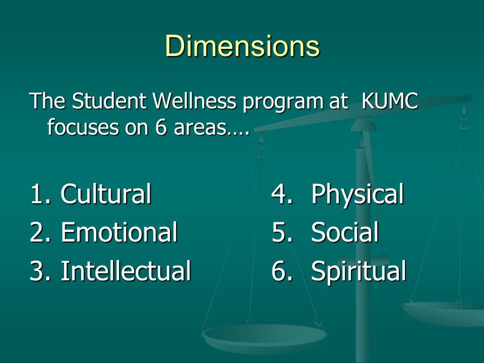 Dimensions The Student Wellness program at KUMC focuses on 6 areas….