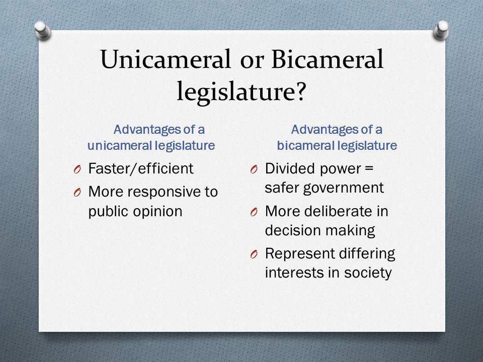 advantages of unicameral legislature