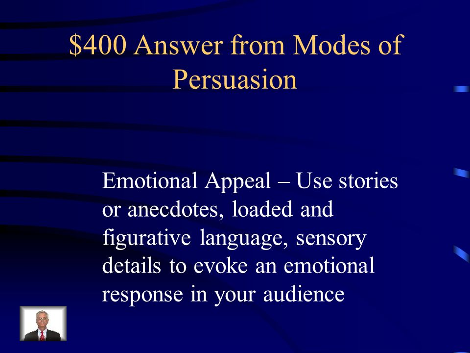 $400 Question from Modes of Persuasion What kind of appeal is pathos and what kind of things might you include in your writing to use this kind of appeal.