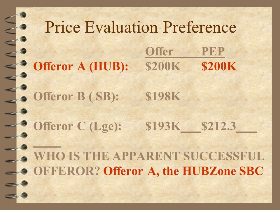 Price Evaluation Preference OfferPEP Offeror A (HUB):$200K$200K Offeror B ( SB):$198K Offeror C (Lge):$193K$212.3 WHO IS THE APPARENT SUCCESSFUL OFFEROR.