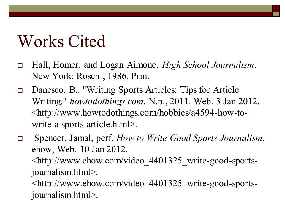 Sports Writing in Journalism By Catherine Watson – DHS Student
