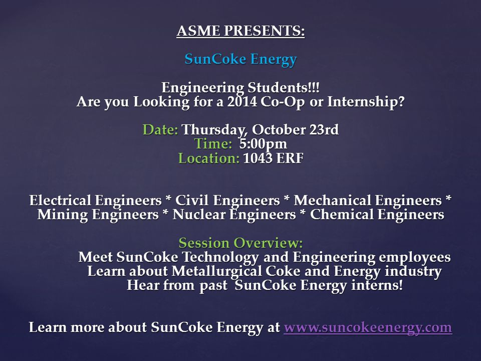 ASME 3nd GBM ASME 3nd GBM.  Interviews – done!  Rosters are in ...