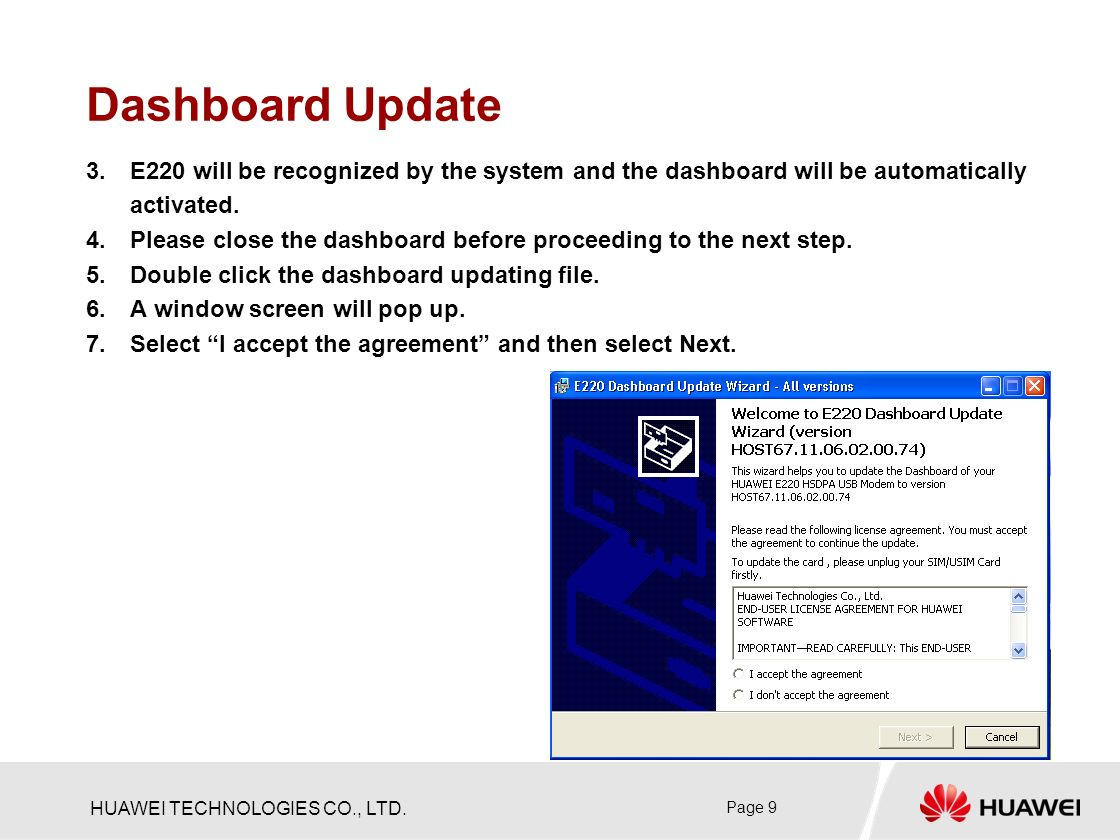 HUAWEI TECHNOLOGIES CO , LTD  Page 1 Firmware Upgrade & Dashboard