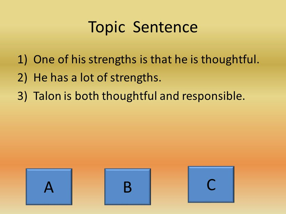 The First Body Paragraph : Strengths 1)Topic sentence: both strengths stated 2)Introduce quotation and then insert quotation 3)Explain how quotation supports your point 4)State second strength.