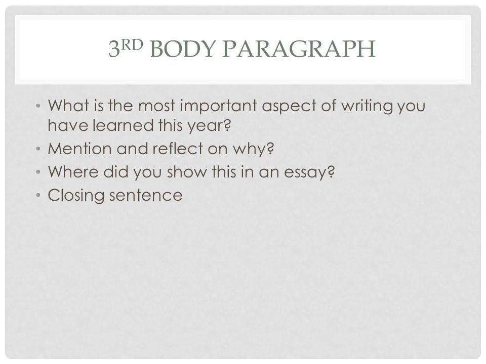 3 RD BODY PARAGRAPH What is the most important aspect of writing you have learned this year.
