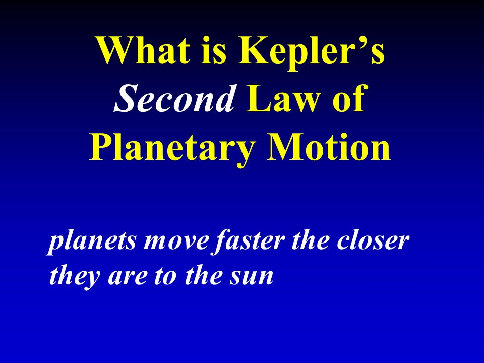 What is Kepler's Second Law of Planetary Motion planets move faster the closer they are to the sun