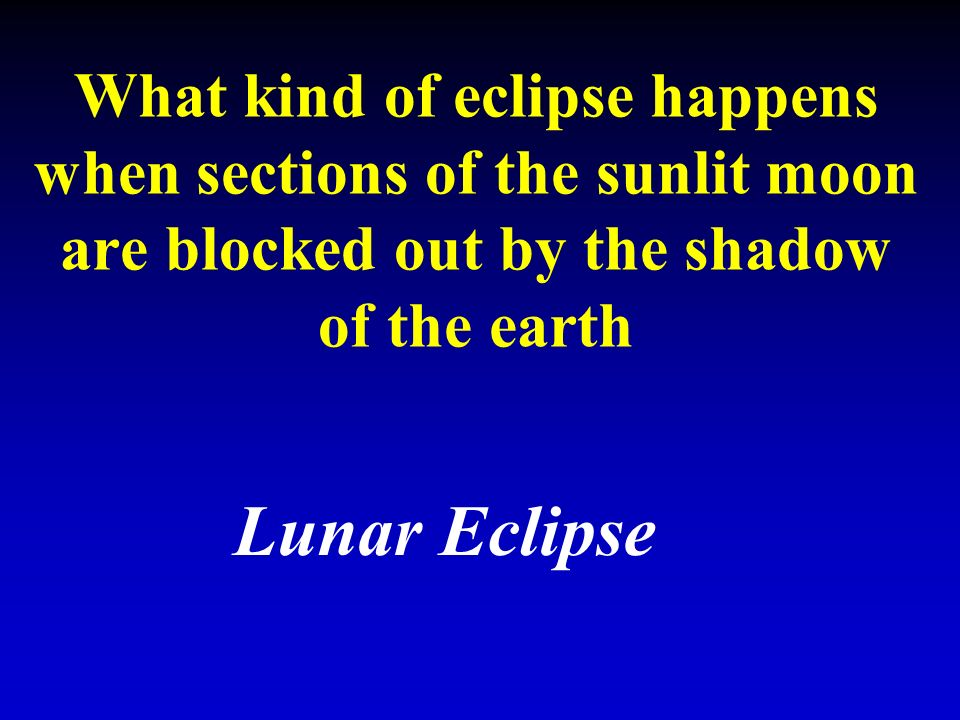What kind of eclipse happens when sections of the sunlit moon are blocked out by the shadow of the earth Lunar Eclipse
