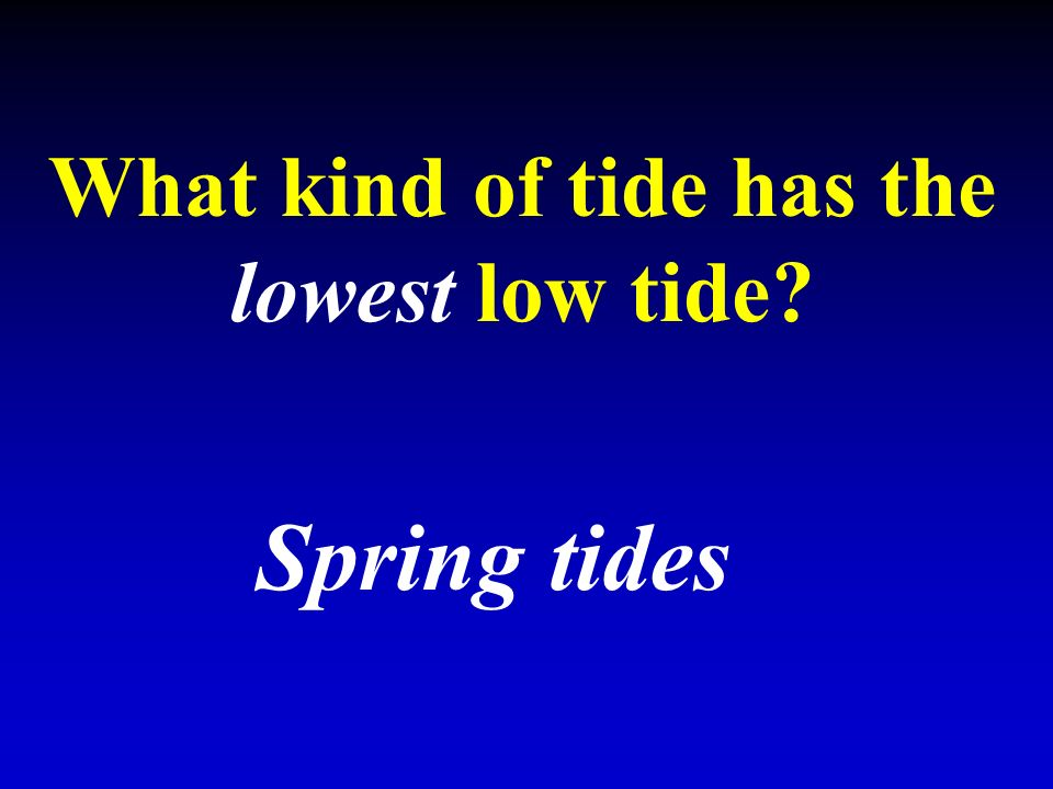 What kind of tide has the lowest low tide Spring tides