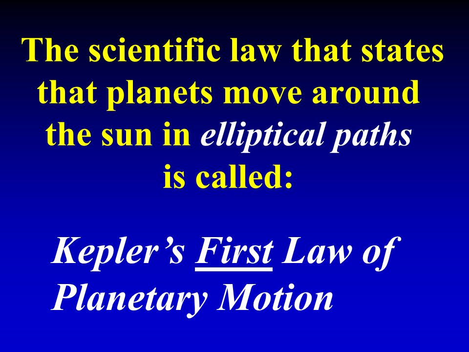 The scientific law that states that planets move around the sun in elliptical paths is called: Kepler's First Law of Planetary Motion