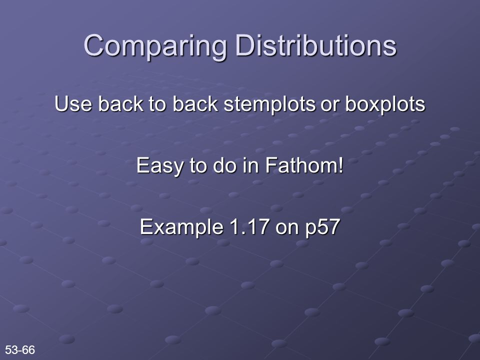 Use back to back stemplots or boxplots Easy to do in Fathom.