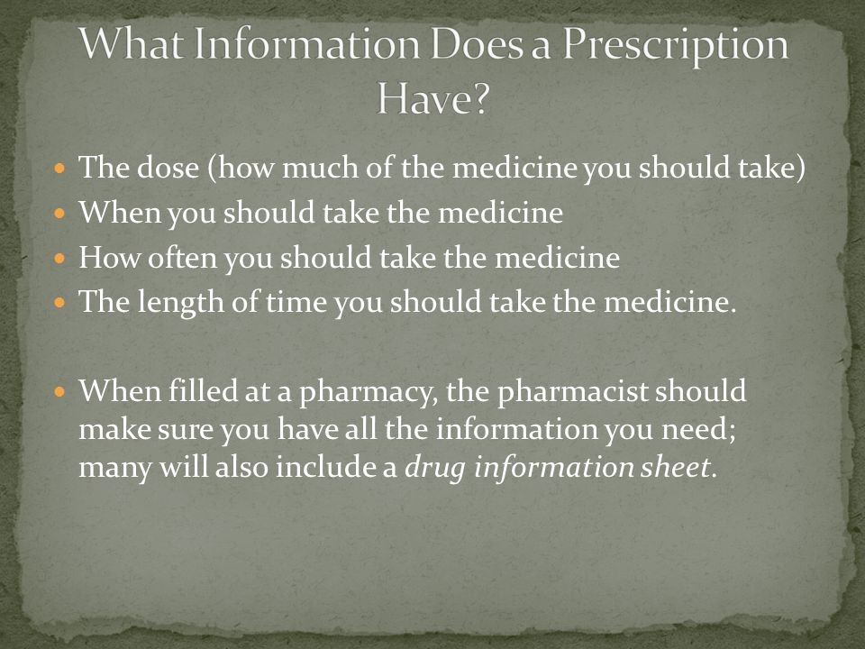 The dose (how much of the medicine you should take) When you should take the medicine How often you should take the medicine The length of time you should take the medicine.