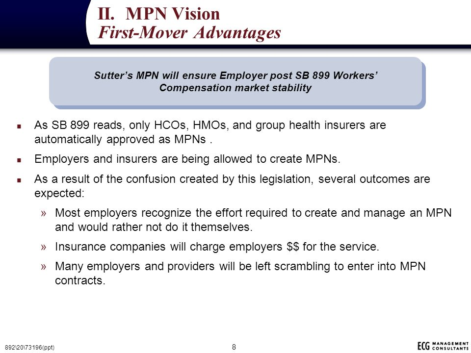 Worker's Compensation Reform SB 899/227/228/749 Presented by