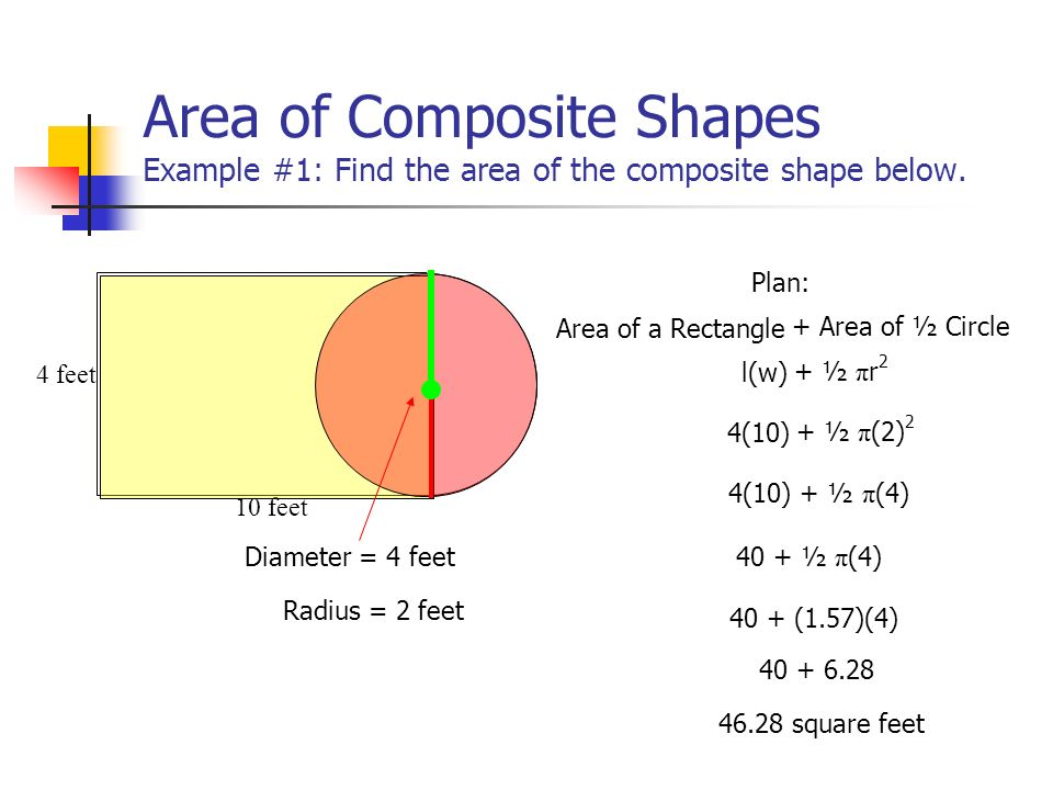 Area of Composite Shapes Example #1: Find the area of the composite shape below.