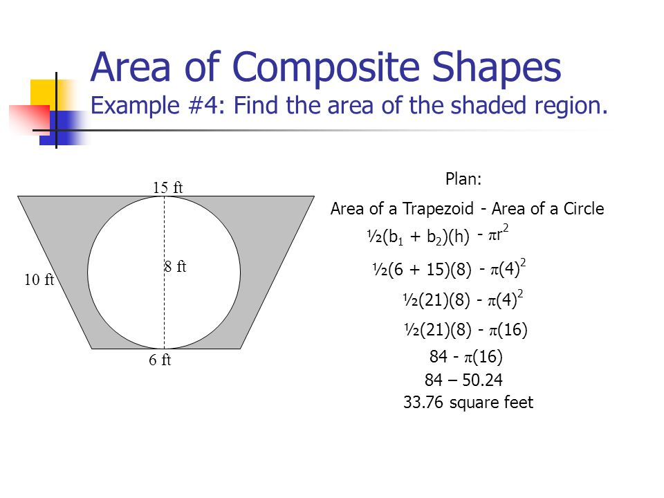 Area of Composite Shapes Example #4: Find the area of the shaded region.