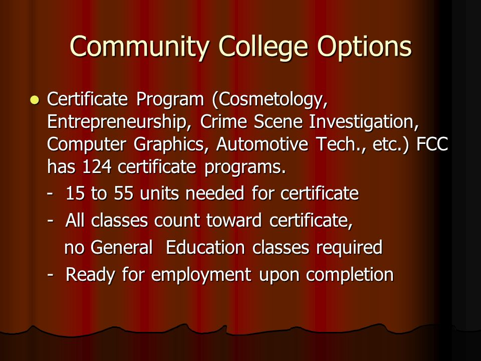 Community College Information – Class of Community College Options ...