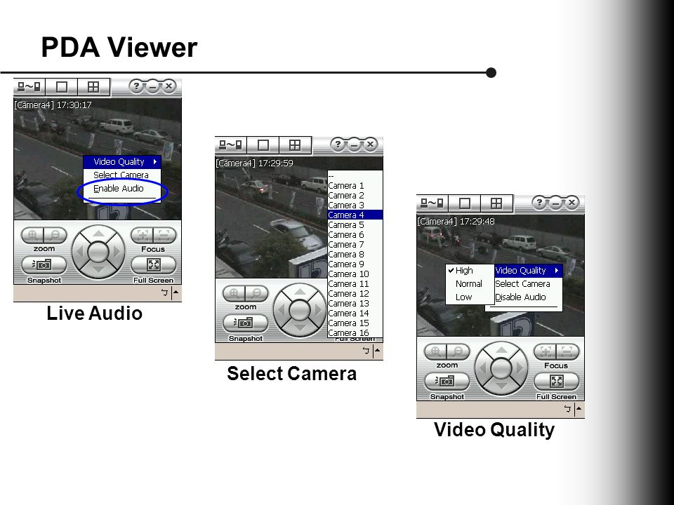 PDA Viewer Live Audio Select Camera Video Quality