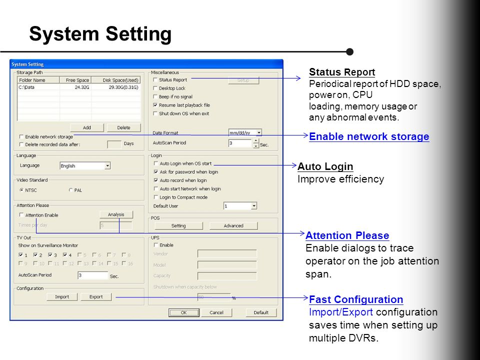 System Setting Status Report Periodical report of HDD space, power on, CPU loading, memory usage or any abnormal events.