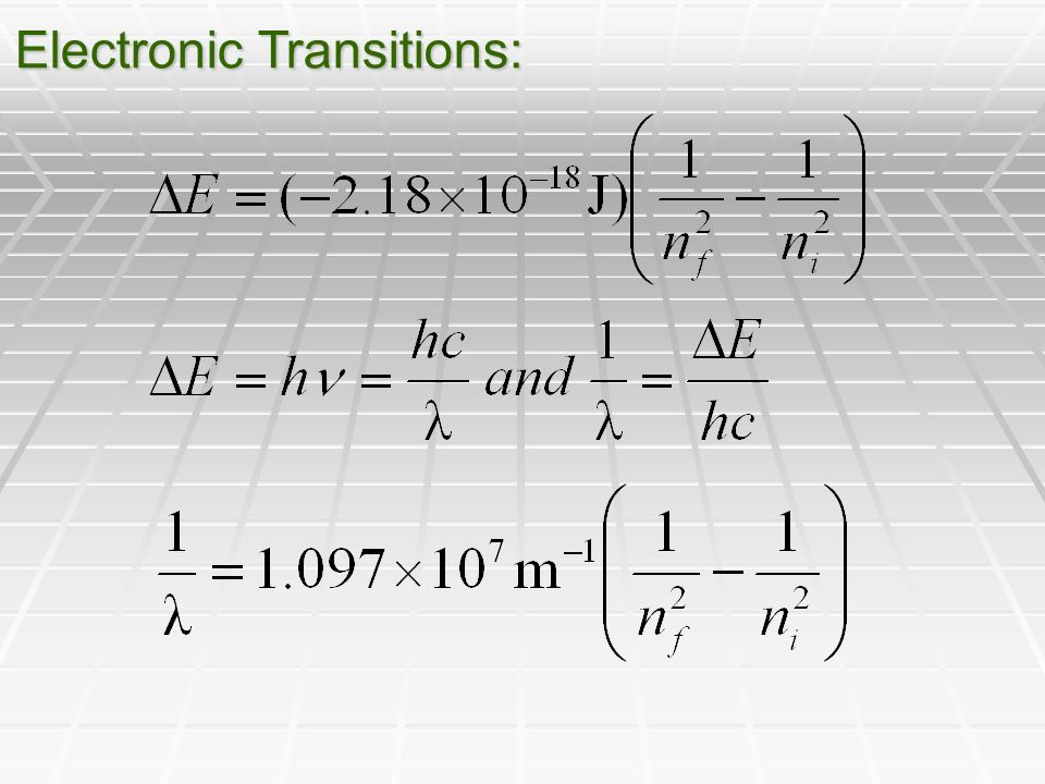 Electronic Transitions: