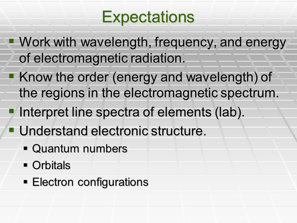 Expectations  Work with wavelength, frequency, and energy of electromagnetic radiation.