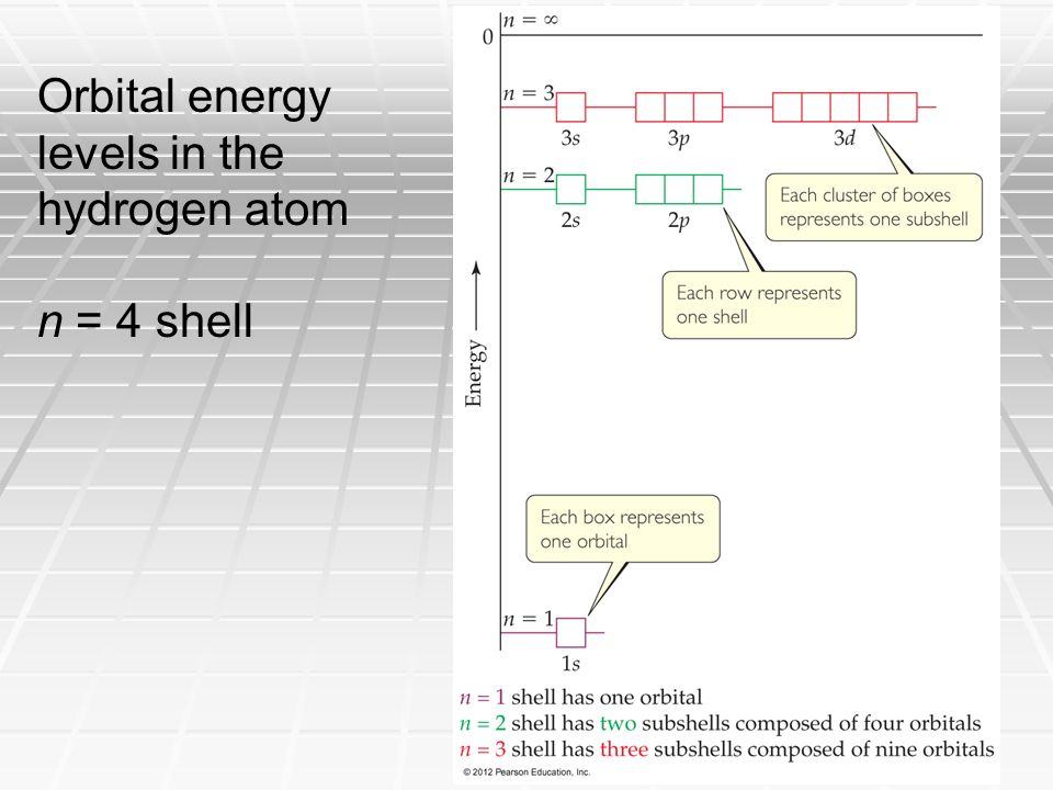 Orbital energy levels in the hydrogen atom n = 4 shell