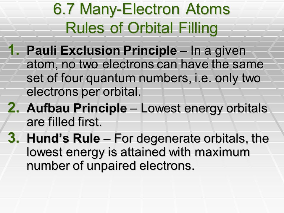 6.7 Many-Electron Atoms Rules of Orbital Filling 1.