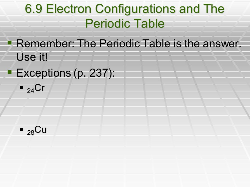 6.9 Electron Configurations and The Periodic Table  Remember: The Periodic Table is the answer.