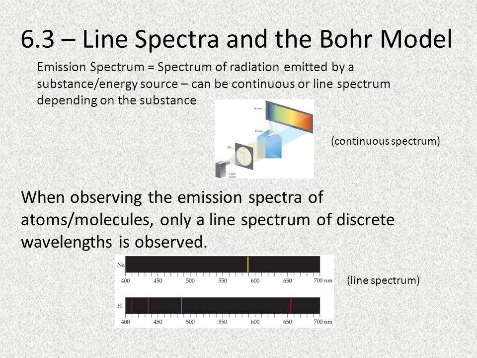 6.3 – Line Spectra and the Bohr Model When observing the emission spectra of atoms/molecules, only a line spectrum of discrete wavelengths is observed.