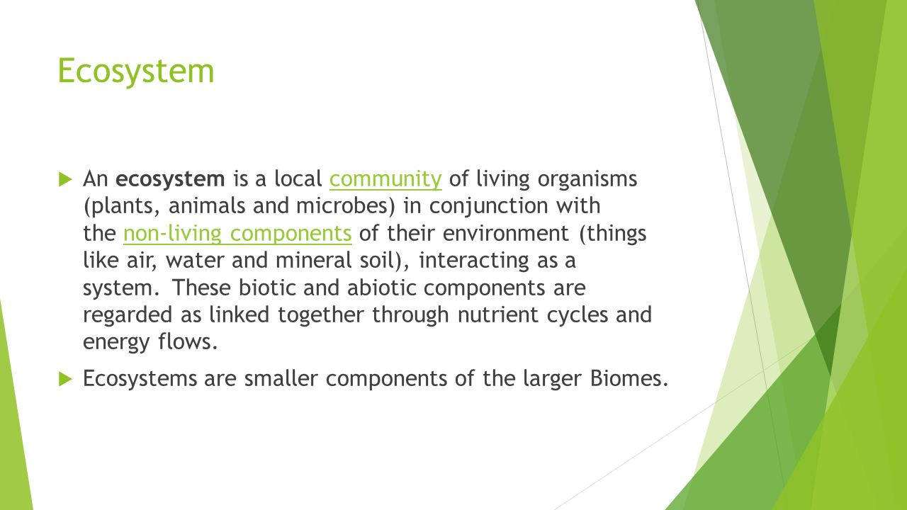 Ecosystem  An ecosystem is a local community of living organisms (plants, animals and microbes) in conjunction with the non-living components of their environment (things like air, water and mineral soil), interacting as a system.