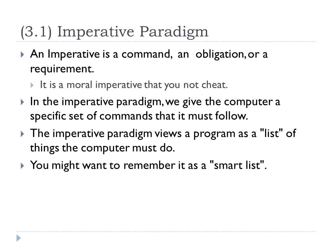 what is imperative paradigm