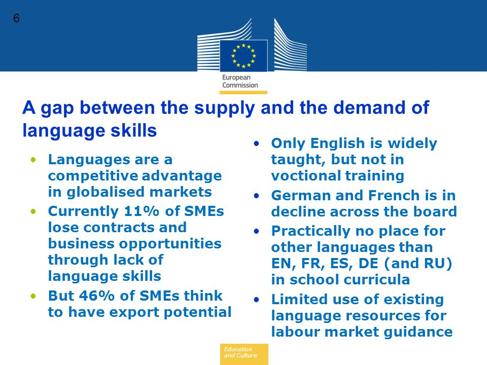 Education and Culture 6 Languages are a competitive advantage in globalised markets Currently 11% of SMEs lose contracts and business opportunities through lack of language skills But 46% of SMEs think to have export potential Only English is widely taught, but not in voctional training German and French is in decline across the board Practically no place for other languages than EN, FR, ES, DE (and RU) in school curricula Limited use of existing language resources for labour market guidance A gap between the supply and the demand of language skills
