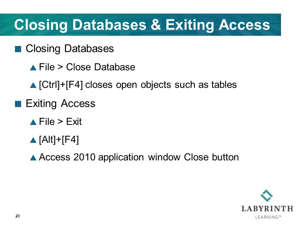 Closing Databases & Exiting Access Closing Databases  File > Close Database  [Ctrl]+[F4] closes open objects such as tables Exiting Access  File > Exit  [Alt]+[F4]  Access 2010 application window Close button 20