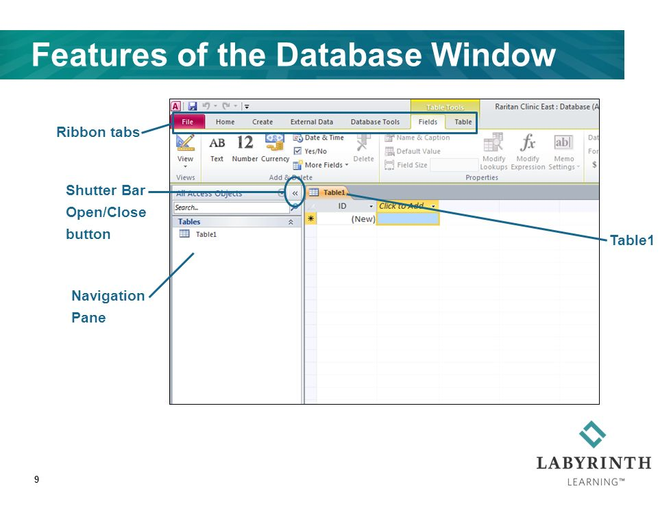 Features of the Database Window 9 Navigation Pane Ribbon tabs Shutter Bar Open/Close button Table1