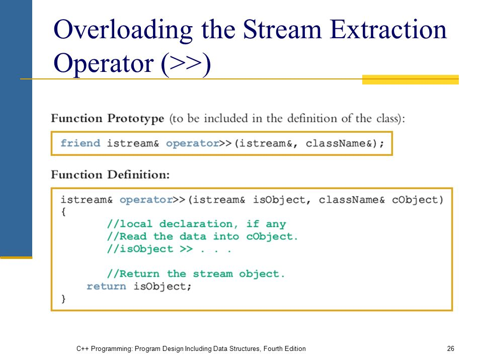 C++ Programming: Program Design Including Data Structures, Fourth Edition26 Overloading the Stream Extraction Operator (>>)