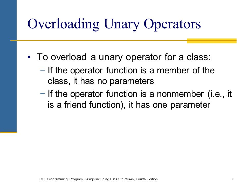 C++ Programming: Program Design Including Data Structures, Fourth Edition30 Overloading Unary Operators To overload a unary operator for a class: −If the operator function is a member of the class, it has no parameters −If the operator function is a nonmember (i.e., it is a friend function), it has one parameter