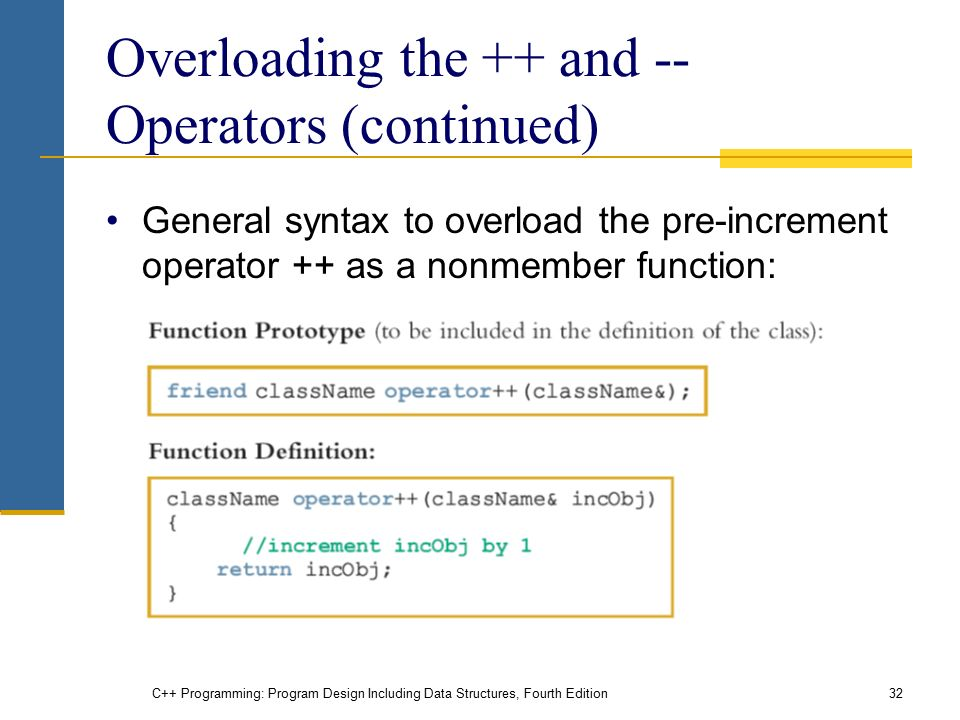 C++ Programming: Program Design Including Data Structures, Fourth Edition32 Overloading the ++ and -- Operators (continued) General syntax to overload the pre-increment operator ++ as a nonmember function: