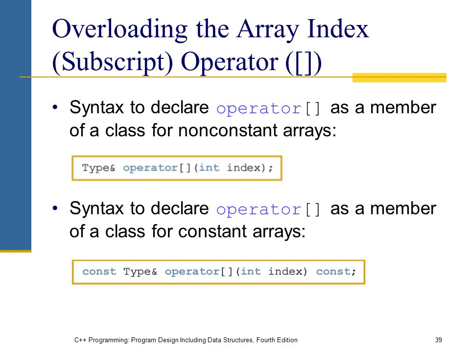 C++ Programming: Program Design Including Data Structures, Fourth Edition39 Overloading the Array Index (Subscript) Operator ([]) Syntax to declare operator[] as a member of a class for nonconstant arrays: Syntax to declare operator[] as a member of a class for constant arrays: