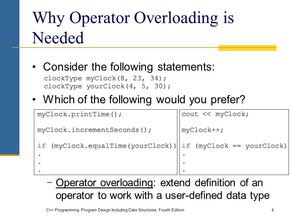 C++ Programming: Program Design Including Data Structures, Fourth Edition4 Why Operator Overloading is Needed Consider the following statements: Which of the following would you prefer.