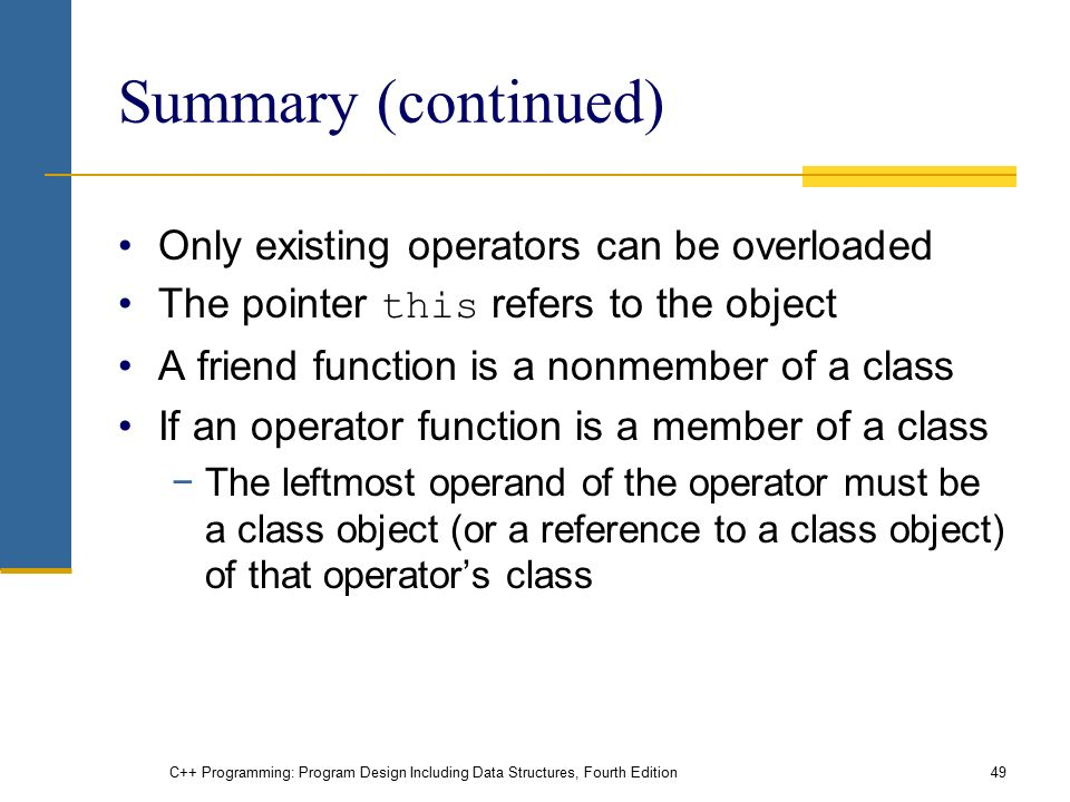 C++ Programming: Program Design Including Data Structures, Fourth Edition49 Summary (continued) Only existing operators can be overloaded The pointer this refers to the object A friend function is a nonmember of a class If an operator function is a member of a class −The leftmost operand of the operator must be a class object (or a reference to a class object) of that operator's class