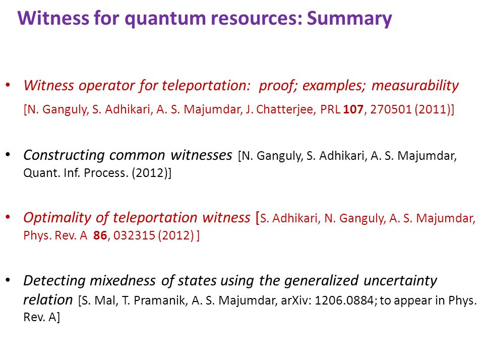 Witness for quantum resources: Summary Witness operator for teleportation: proof; examples; measurability [N.