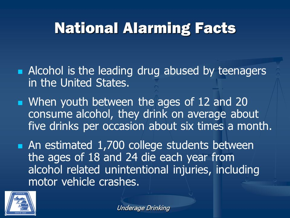 Underage Drinking National Alarming Facts Alcohol is the leading drug abused by teenagers in the United States.