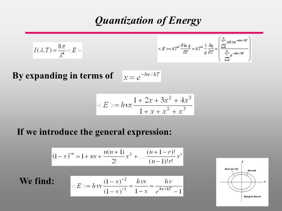 Quantization of Energy If we introduce the general expression: By expanding in terms of We find: