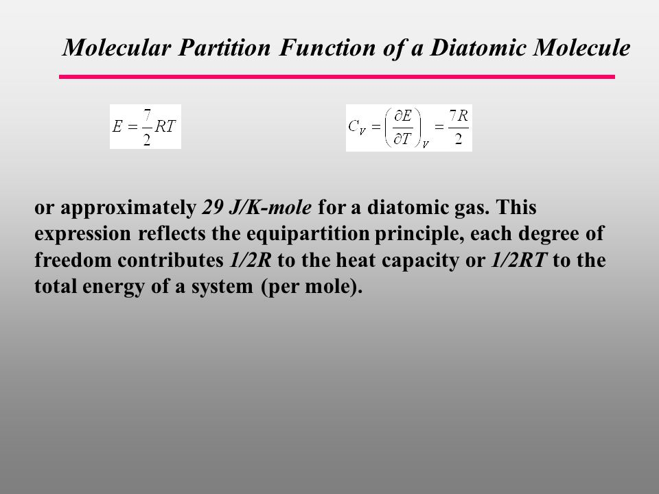 Molecular Partition Function of a Diatomic Molecule or approximately 29 J/K-mole for a diatomic gas.