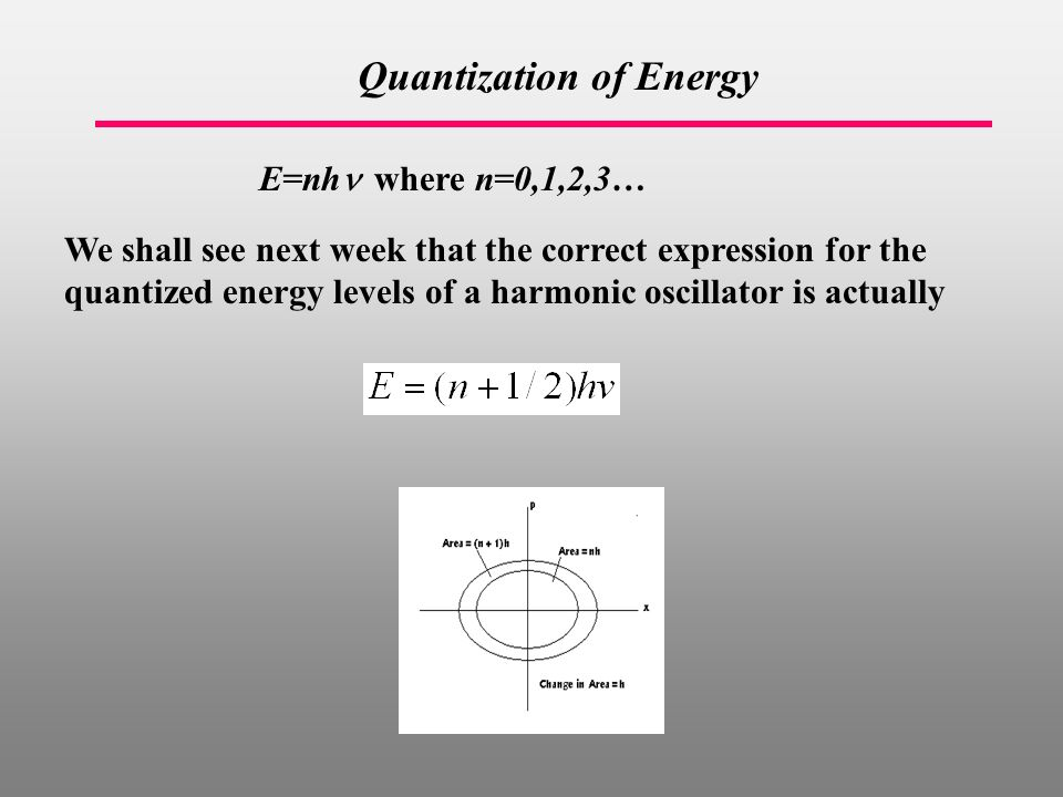 Quantization of Energy E=nh where n=0,1,2,3… We shall see next week that the correct expression for the quantized energy levels of a harmonic oscillator is actually
